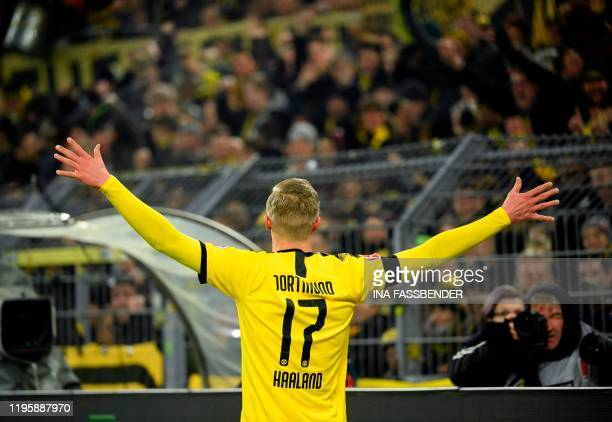 Dortmund's Norwegian forward Erling Braut Haaland celebrate scoring the 5-1 goal during the German first division Bundesliga football match Borussia...