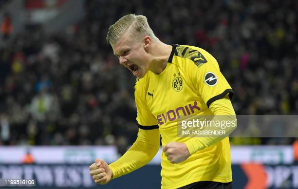 Dortmund's Norwegian forward Erling Braut Haaland celebrates a goal during the German first division Bundesliga football match Bayer 04 Leverkusen vs...