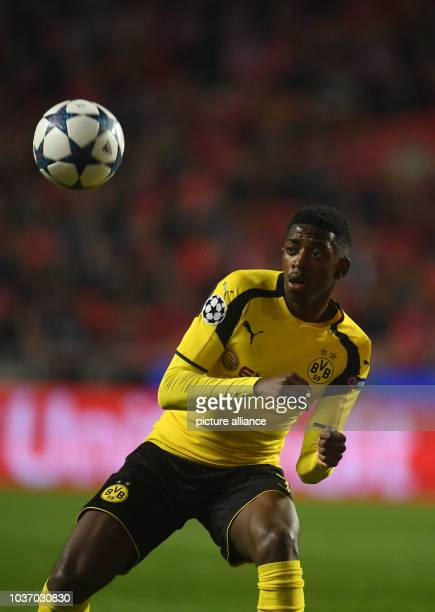 Dortmund's Ousmane Dembele watches the ball during the first leg of the Champions League quarter final knockout match between the Portuguese...