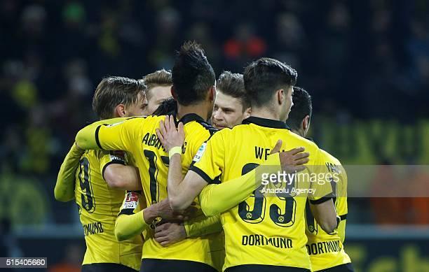 Dortmund's players celebrate a goal during the Bundesliga soccer match between Borussia Dortmund and FSV Mainz 05 at the SignalIduna stadium in...