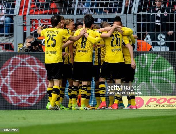 Dortmund's players celebrate a goal during the German First division Bundesliga football match between Borussia Dortmund and Eintracht Frankfurt in...