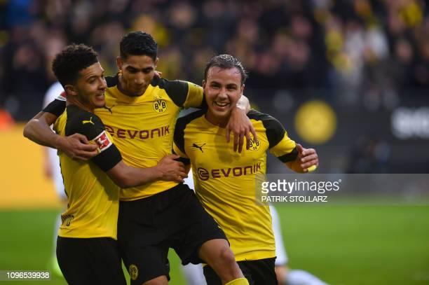 Dortmund's players celebrate after scoring during the German first division Bundesliga football match Borussia Dortmund v Hoffenheim in Dortmund...