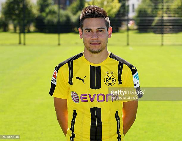 Dortmund's Portuguese defender Raphael Guerreiro poses during the team presentation of Borussia Dortmund on August 17 2016 in Dortmund western...