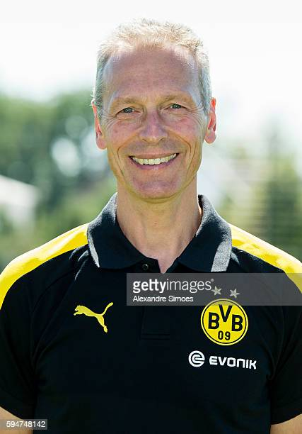 Dortmund's Rainer Schrey poses during the team presentation of Borussia Dortmund on August 17 2016 in Dortmund Germany