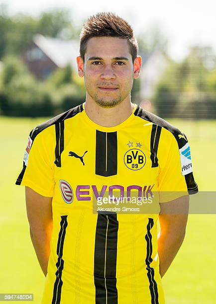Dortmund's Raphael Guerreiro poses during the team presentation of Borussia Dortmund on August 17 2016 in Dortmund Germany