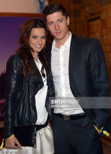Dortmund's Robert Lewandowski and his girlfriend Anna Stachurska during the club's after party at Natural History Museum in London England 26 May...