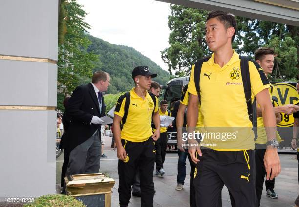 Dortmund's Shinji Kagawa arriving for the training camp at the team hotel in Bad Ragaz, Switzerland, 3 August 2016. PHOTO: GUIDO KIRCHNER | usage...