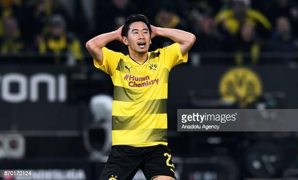 Dortmund's Shinji Kagawa reacts during Bundesliga soccer match between Borussia Dortmund and FC Bayern Munich at the SignalIduna Park in Dortmund...