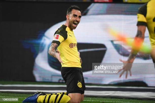 Dortmund's Spanish forward Paco Alcacer celebrate after scoring the 32 goal during the German first division Bundesliga football match BVB Borussia...