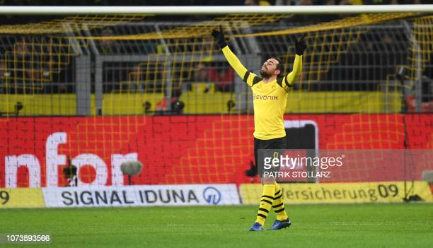 Dortmund's Spanish forward Paco Alcacer reacts during the German first division Bundesliga football match Borussia Dortmund vs Werder Bremen in...