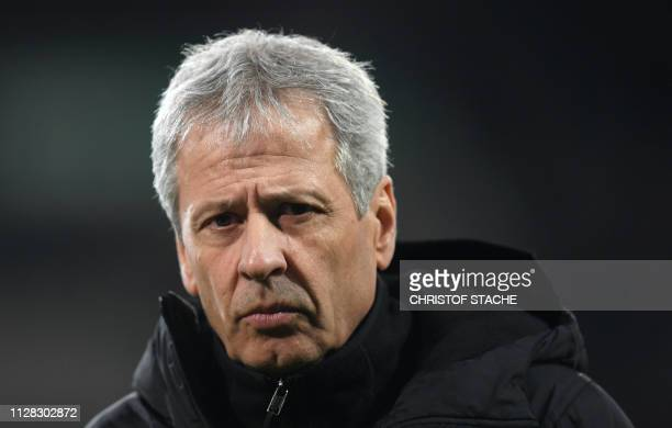 Dortmund's Swiss coach Lucien Favre is pictured prior to the German first division Bundesliga football match between FC Augsburg and Borussia...