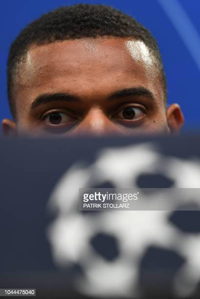 Dortmund's Swiss defender Manuel Akanji attends a press conference on the eve of the UEFA Champions League group A football match Borussia Dortmund...