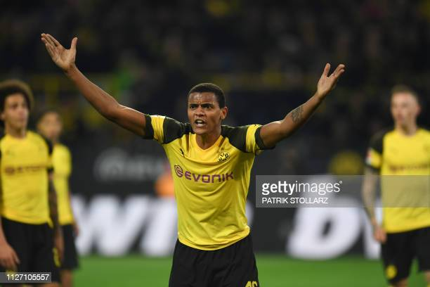 Dortmund's Swiss defender Manuel Akanji reacts during the German first division Bundesliga football match Borussia Dortmund vs Bayer Leverkusen on...