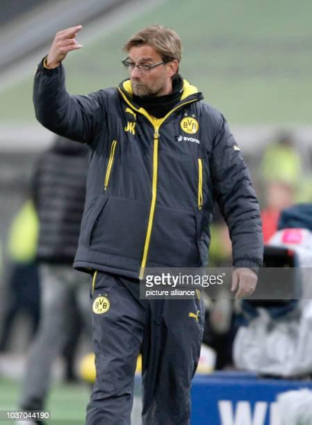 Dortmund's trainer Juergen Klopp gestures during the soccer test game between Fortuna Duesseldorf and Borussia Dortmund at the ESPRITArena in...