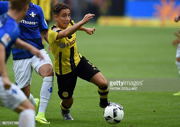 Dortmund's Turkish midfielder Emre Mor plays the ball during the German first division Bundesliga football match of Borussia Dortmund vs SV Darmstadt...