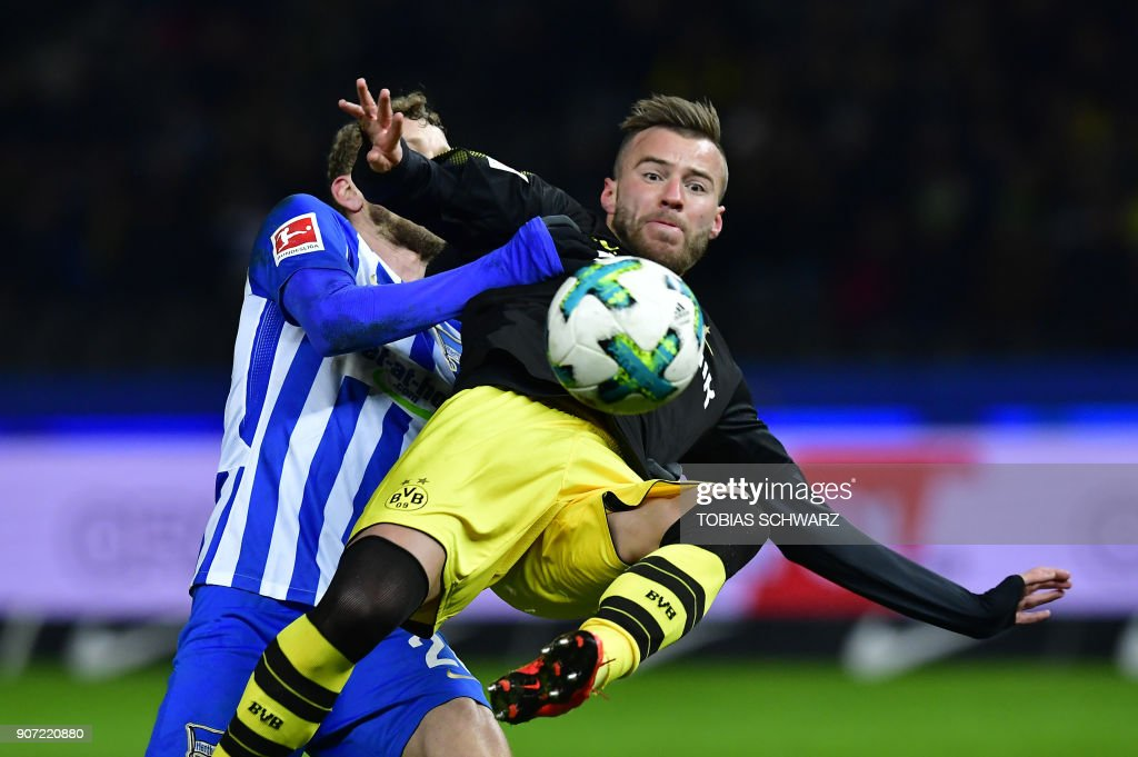 Dortmund's Ukrainian forward Andriy Yarmolenko plays the ball during the German first division Bundesliga football match Hertha BSC Berlin vs BVB Borussia Dortmund, in Berlin, western Germany, on January 19, 2018. / AFP PHOTO / Tobias