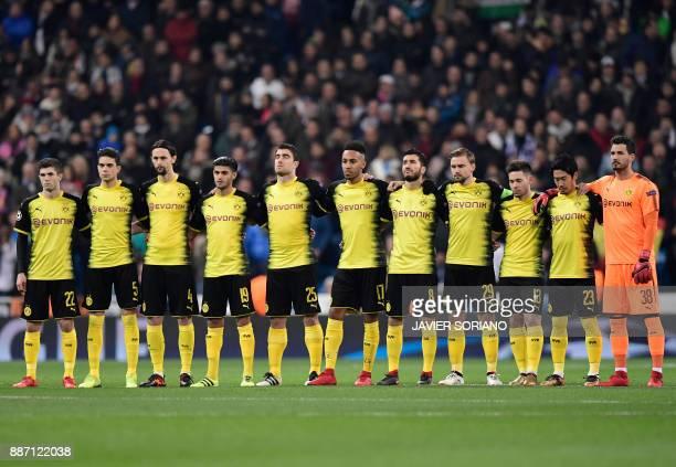 Dortmund's US midfielder Christian Pulisic Dortmund's Spanish defender Marc Bartra Dortmund's Serbian defender Neven Subotic Dortmund's German...