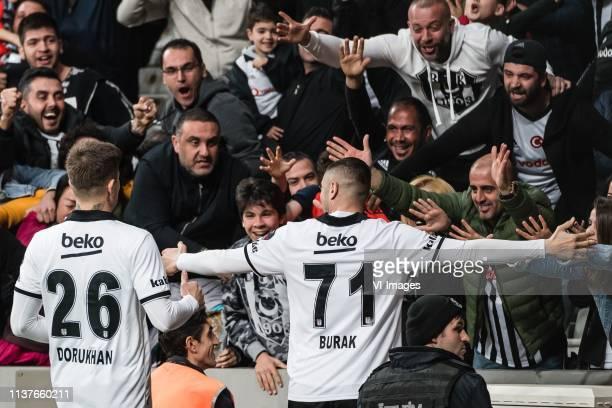 Dorukhan Tokoz of Besiktas JK Burak Yilmaz of Besiktas JK during the Turkish Spor Toto Super Lig football match between Besiktas JK and Medipol...