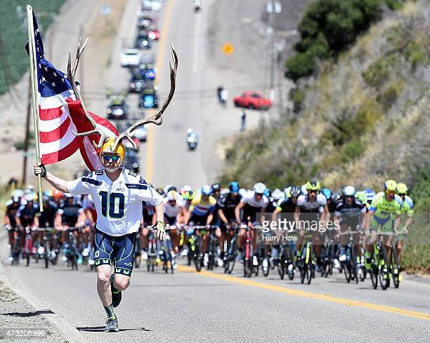 Dory Holte runs ahead of the peleton on a climb during stage four of the 2015 Amgen Tour of California from Pismo Beach to Avila Beach on May 13 2015...