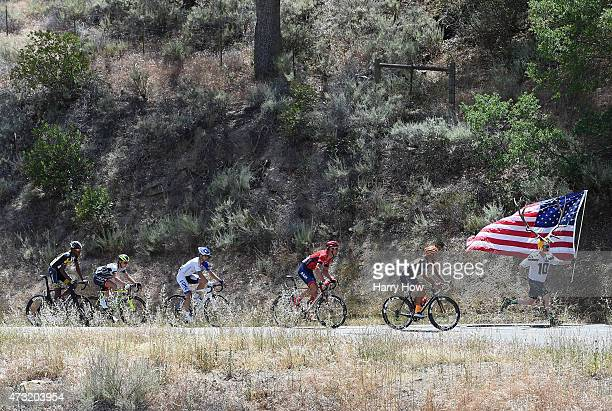 Dory Holte runs along the breakaway during stage four of the 2015 Amgen Tour of California from Pismo Beach to Avila Beach on May 13, 2015 Santa...