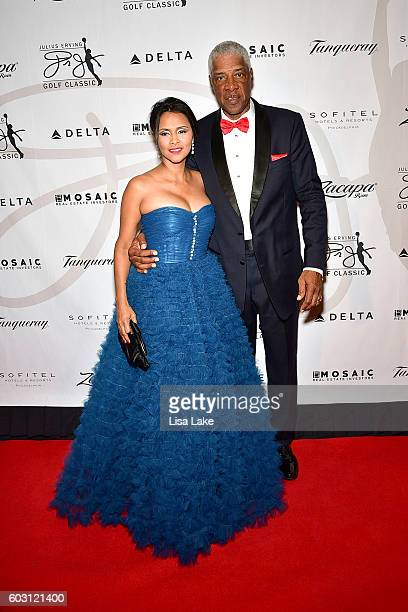 Dorys and Julius Erving attend the Julius Erving Red Carpet Pairings Event at Sofitel Hotel on September 11 2016 in Philadelphia Pennsylvania