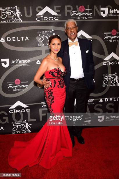 Dorys and Julius Erving walk the red carpet during the Erving Classic Black Tie and Pairings Party at Logan Philadelphia Ballroom on September 9 2018...