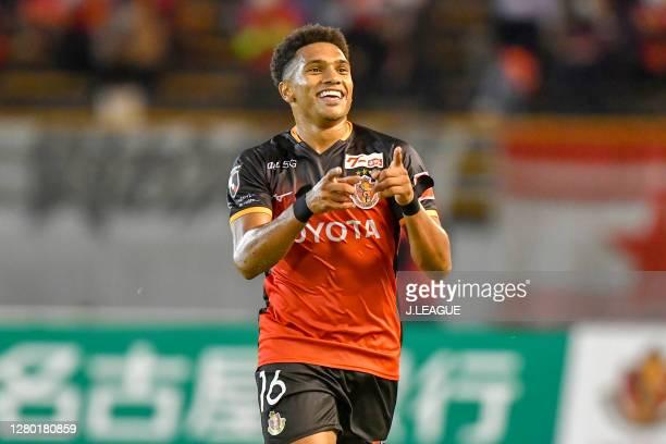 Dos Santos Castro of Nagoya Grampus celebrates scoring his side's second goal during the J.League Meiji Yasuda J1 match between Nagoya Grampus and...