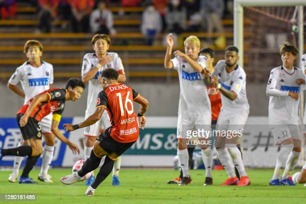 Dos Santos Castro of Nagoya Grampus scores his side's second goal from a free-kick during the J.League Meiji Yasuda J1 match between Nagoya Grampus...