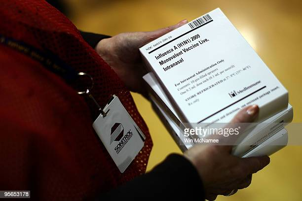Doses of the H1N1 vaccination are shown at Carlin Springs Elementary School January 7 2010 in Arlington Virginia US Health and Human Services Sec...
