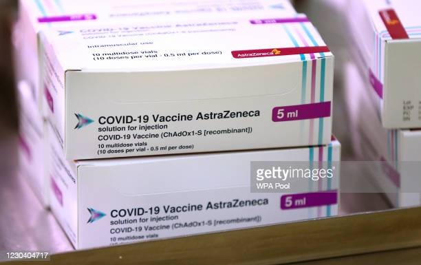 Doses of the Oxford University/AstraZeneca Covid-19 vaccine arrive at the Princess Royal Hospital in Haywards Heath on January 02, 2021 in West...