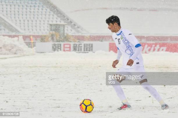 Dostonbek Khamdamov of Uzbekistan drives the ball during the AFC U23 Championship China 2018 final match between Vietnam and Uzbekistan at Changzhou...