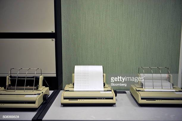 Dot matrix printers sit on a desk inside a former regional government nuclear bunker in Ballymena UK on Thursday Feb 4 2016 The property that was...