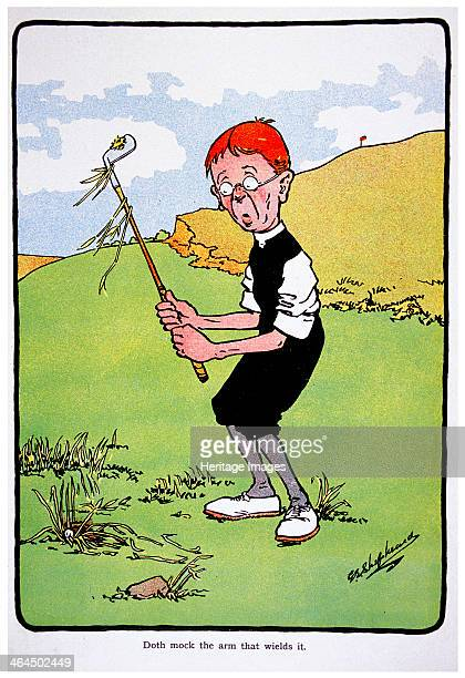 Doth mock the arm that wields it Golfing postcard c1920s