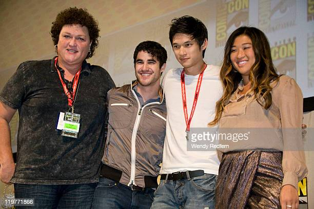 Dot-Marie Jones, Darren Criss, Harry Shum Jr, Jenna Ushkowitz and Tina Cohen-Chang speaks on stage during day four of Comic-Con 2011 held at the San...