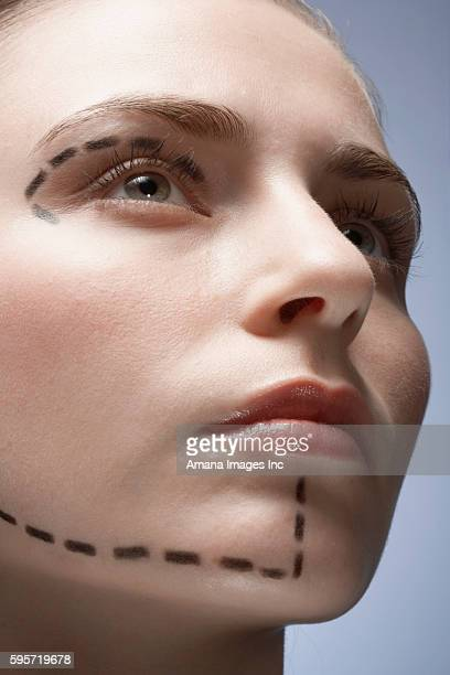 Dotted Lines on Woman's Face