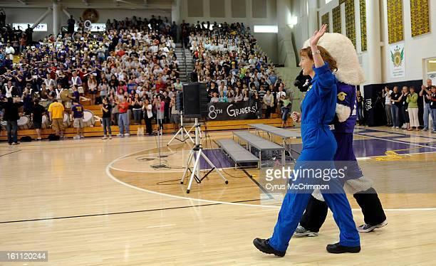 Dottie MetcalfLindenburger who was a mission specialist on STS131 space shuttle fight returned to speak to a year ending assembly at her alma mater...
