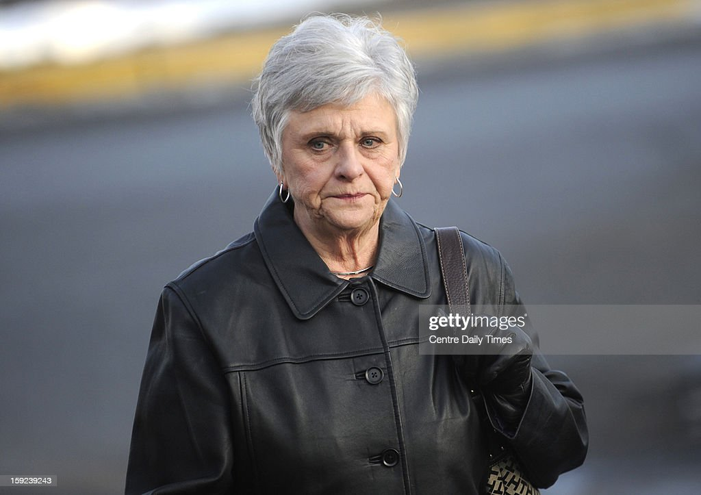 Dottie Sandusky, the wife of Jerry Sandusky arrives at the Centre County Courthouse in Bellefonte, Pennsylvania, for a hearing for her husband on Thursday, January 10, 2013.