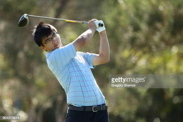 Dou Zecheng of China plays his shot from the first tee during round two of the Sony Open In Hawaii at Waialae Country Club on January 12 2018 in...