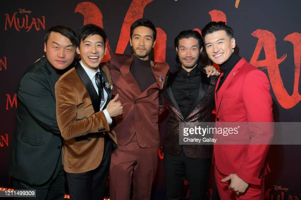 Doua Moua Jimmy Wong Yoson An Nelson Lee and Chen Tang attend the World Premiere of Disney's 'MULAN' at the Dolby Theatre on March 09 2020 in...