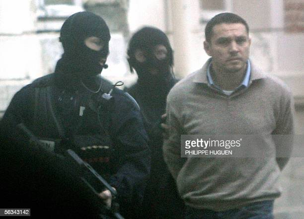 Lionel Dumont a 34yearold convert to Islam who fought with Muslim insurgents in Bosnia arrives at the Douai courthouse northern France 06 December...