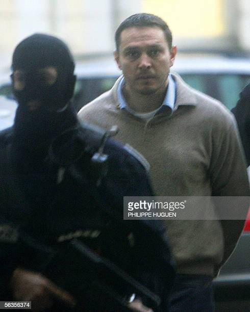 Lionel Dumont a 34yearold convert to Islam who fought with Muslim insurgents in Bosnia arrives at the Douai courthouse northern France 07 December...