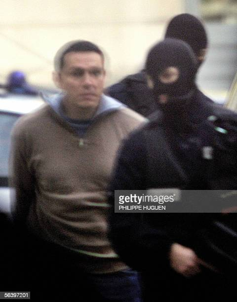 Lionel Dumont a 34yearold convert to Islam who fought with Muslim insurgents in Bosnia escorted by elite police members arrives at the Douai...