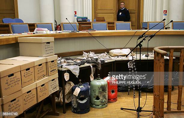 Picture taken 06 December 2005 at Douai courthouse northern France of incriminating evidences on the second day of the trial of Lionel Dumont charged...