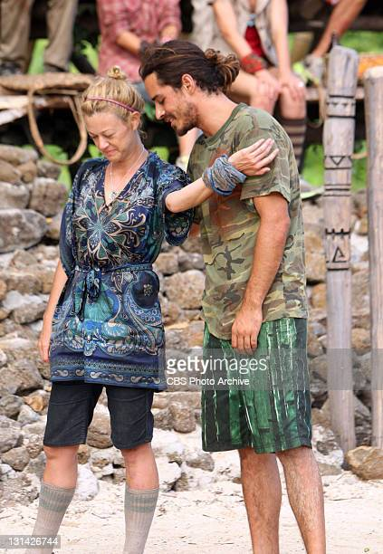 'Double Agent' Christine Shields Markoski and Ozzy Lusth during the Redemption Island duel 'Jail Break' during the eighth episode of SURVIVOR SOUTH...