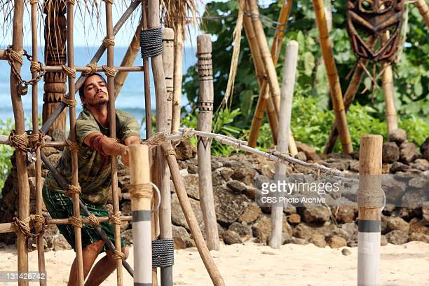 Double Agent Ozzy Lusth during the Redemption Island duel Jail Break during the eighth episode of SURVIVOR SOUTH PACIFIC Wednesday Nov 2 on the CBS...