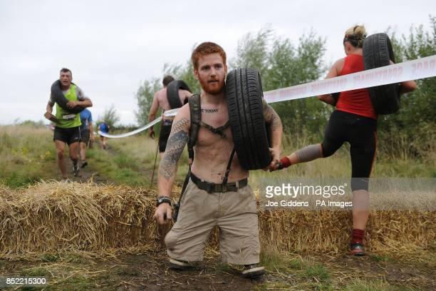 Double amputee soldier Lance Bombardier James Simpson tackles the Spartan Super Race at West Midlands Water Ski Centre Warwickshire