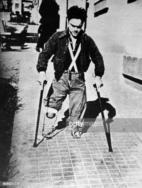 Double amputee war veteran in a Spanish street during the Spanish Civil War