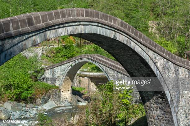 double arch bridges in arhavi,artvin province,the black sea region of turkey - double arch stock pictures, royalty-free photos & images