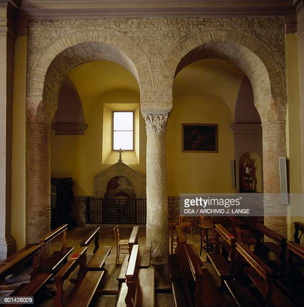 Double arch in the Church of St Gimignano Vicofertile Via Francigena or Romea EmiliaRomagna Italy 11th century