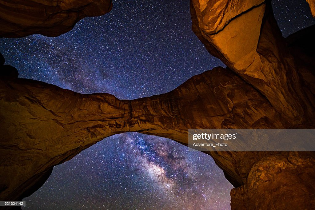 Double Arch Milky Way Galaxy Arches National Park Utah : Stock Photo